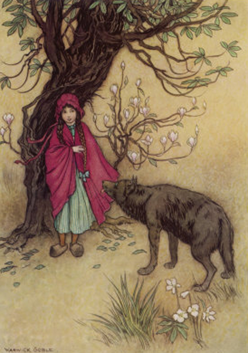 warwick-goble-little-red-riding-hood-meets-the-wolf-in-the-woods